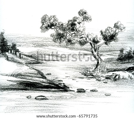 Hand sketch of natural scenery. - stock photo
