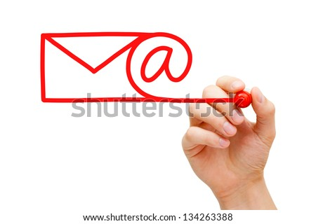 Hand sketching Email Concept with red marker on transparent wipe board.