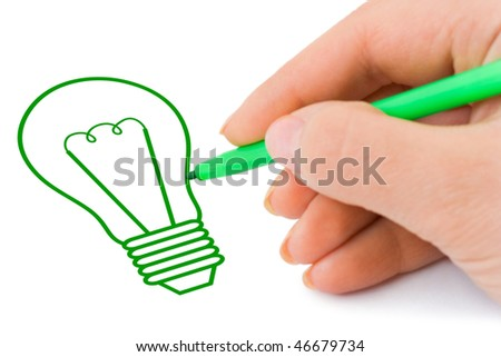 Hand sketching lamp isolated on white background