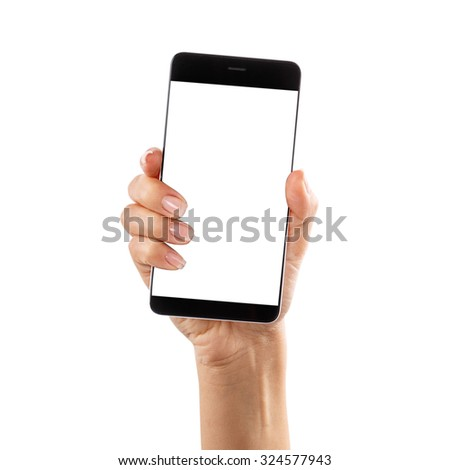 hand smartphone Isolated on white background Clipping Path #324577943