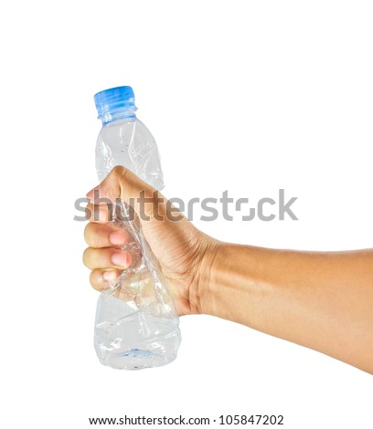 Hand squash a plastic bottle  isolated on white
