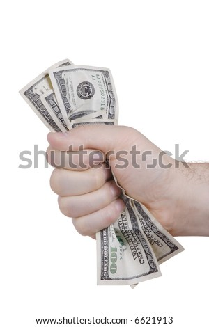 Hand squeezing bunch of dollars against white background