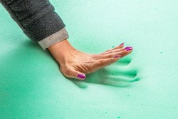 Hand stamp on memory foam mattress