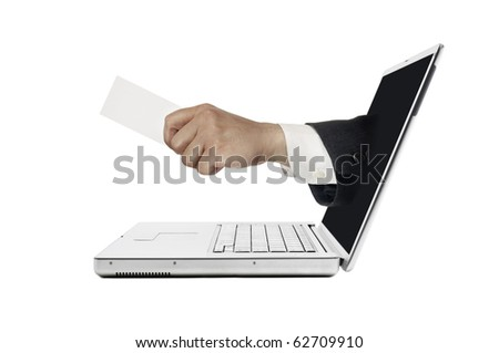 Hand sticking out from computer