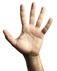 hand symbol five against a white background