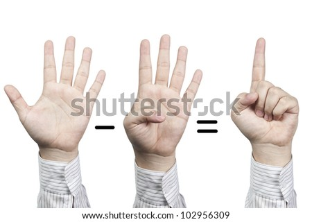 Hand symbol number 5-4=1, isolated on white background