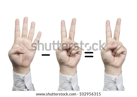 Hand symbol number 4-2=2, isolated on white background