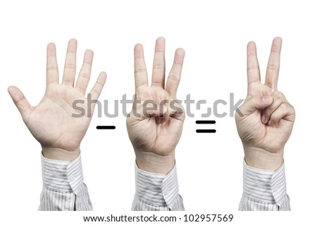 Hand symbol number 5-3=2, isolated on white background