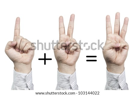 Hand symbol number 1+2=3, isolated on white background