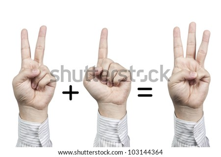 Hand symbol number 2+1=3, isolated on white background - stock photo
