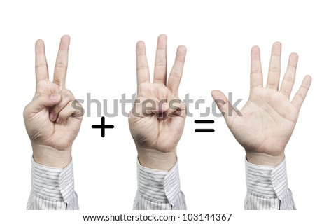 Hand symbol number 2+3=5, isolated on white background