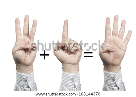 Hand symbol number 3+1=4, isolated on white background