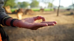 Hand symbol of Yoga or Nirvana expression. Mantra yoga meditation, spiritual mental health practice with hand gesture.