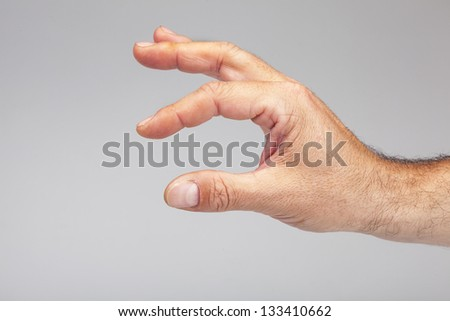 Hand symbol that means measurment on white background