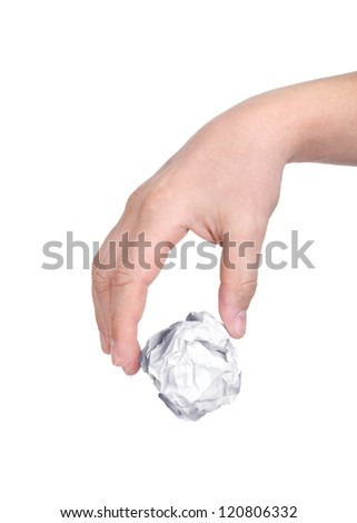 Hand taking a crumpled paper over white background