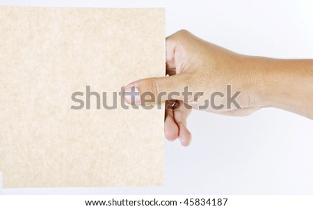 Hand taking blank cardboard over white background - stock photo