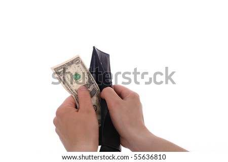 Hand taking money from a wallet. Isolated on white background