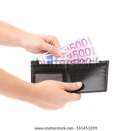 Hand taking out euro bills from purse. Isolated on a white background.