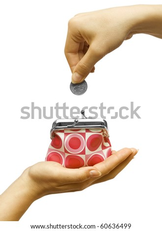Hand throwing coin in purse on white background