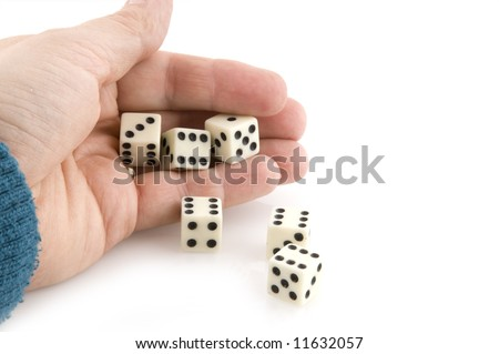 Hand throwing dices with good luck