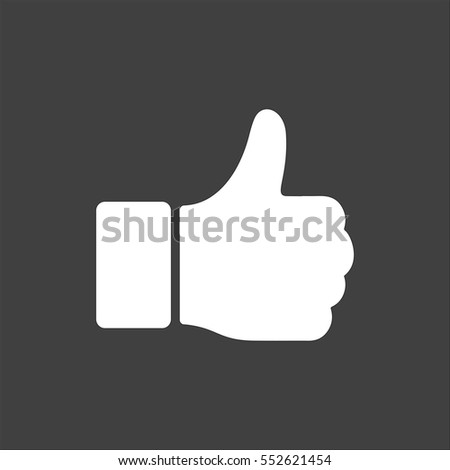 Hand Thumb Up icon flat. White symbol illustration isolated on grey background