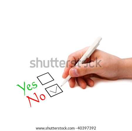 "Hand ticking ""No"" in the check box"
