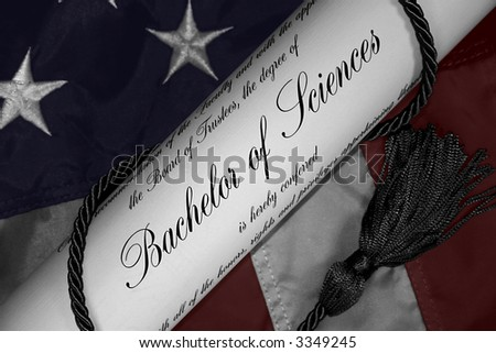 Hand tinted Bachelor of Sciences Degree with Patriotic background