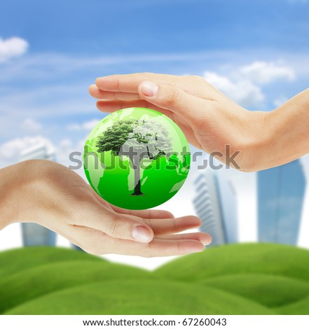 hand to protect the world