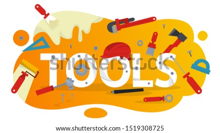Hand tool concept. Equipment for repair. Wrench and hammer. Handyman tools. Isolated  illustration