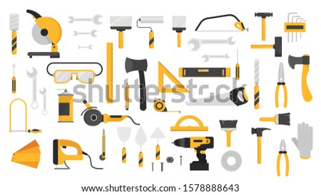 Hand tool set. Collection of equipment for repair. Saw and screwdriver, drill and level. Handyman tools. Isolated  illustration in cartoon style