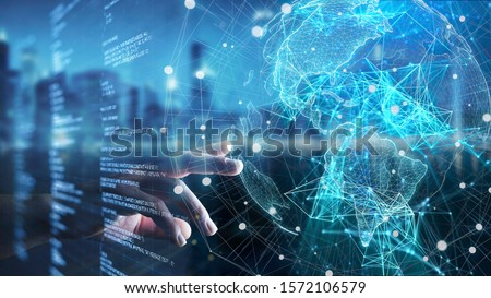 Hand touch globe data, security, data transformation, big data, iot, data flow, internet of things