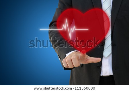 Hand touch heart beat icon