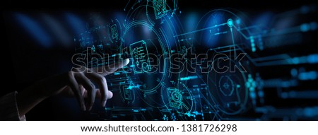 Hand touch icon of Document Management Data System Business Internet Technology Concept. #1381726298