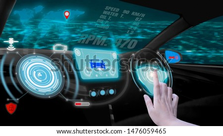Hand touch screen dashboard graphic user interface(GUI)digital hologram,virtual screen system HUD(Head Up Display)of futuristic vehicle smart car cockpit,with self driving mode autonomous control #1476059465