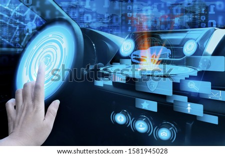 Hand touch screen dashboard graphic user interface(GUI)digital hologram,virtual screen system HUD(Head Up Display)of futuristic vehicle smart car cockpit,with self driving mode autonomous control #1581945028