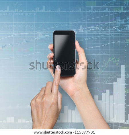 hand touch screen on cellphone