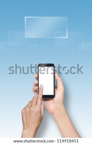 hand touch screen on smartphone