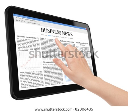 Hand touch screen on tablet pc with business news. Include clipping path for tablet, screen and hand. Isolated on white.
