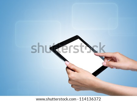 hand touch screen on tablet pc. with icons over blue background.