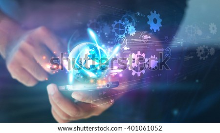 Hand touch screen smart phone.Digital technology concept,Social media