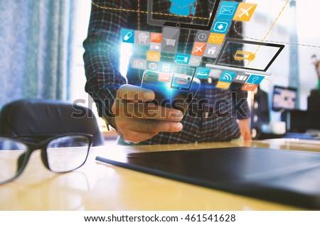 Hand touch screen smart phone.Digital technology concept,Social media,social network