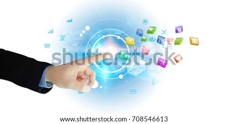 hand touch screen social icons, Social media concept.