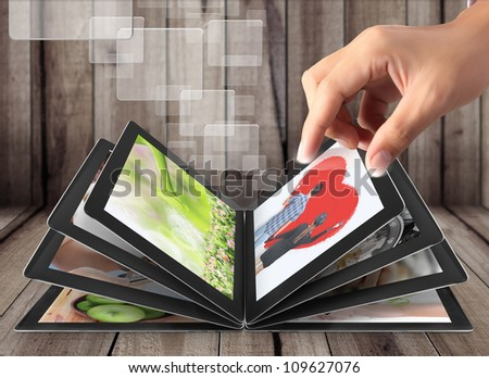 Hand touch screen tablet streaming images