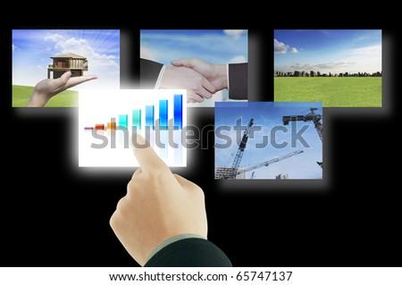 Hand touching - stock photo