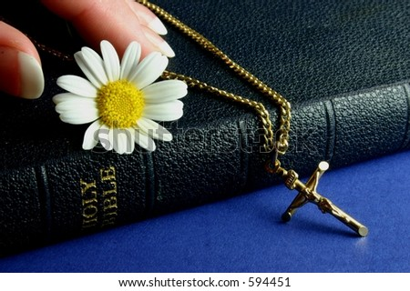 Hand touching bible with gold crucifix and flower
