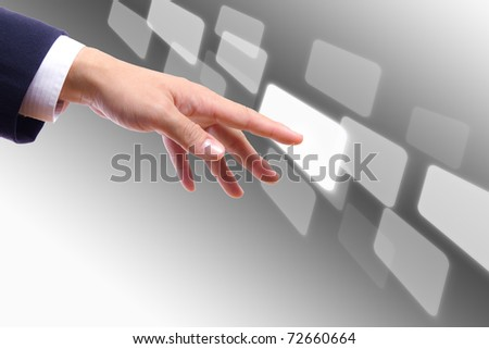 hand touching button