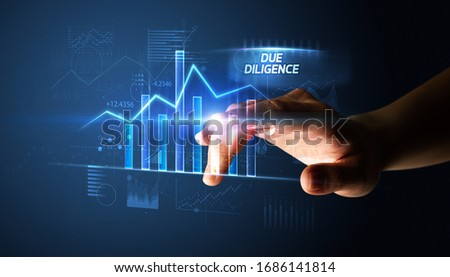 Hand touching DUE DILIGENCE button, business concept Foto stock ©