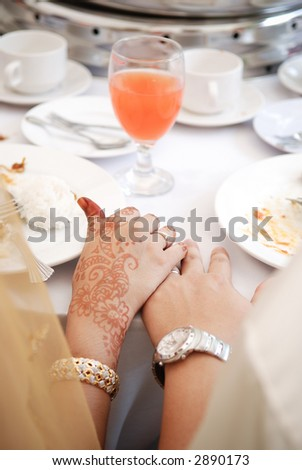 Hand touching of bride and groom