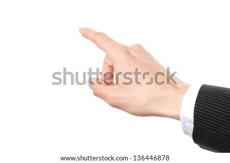 hand touching on a virtual screen isolated on white background