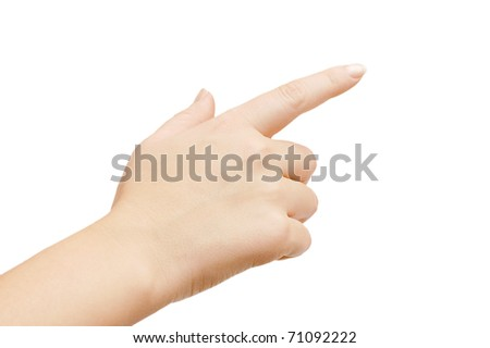 hand touching screen isolated on white background